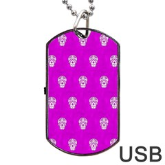 Skull Pattern Hot Pink Dog Tag Usb Flash (one Side) by MoreColorsinLife