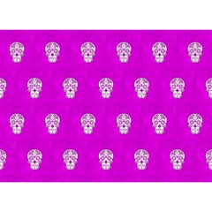 Skull Pattern Hot Pink Birthday Cake 3d Greeting Card (7x5)  by MoreColorsinLife