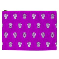 Skull Pattern Hot Pink Cosmetic Bag (xxl)  by MoreColorsinLife
