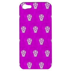Skull Pattern Hot Pink Apple Iphone 5 Hardshell Case by MoreColorsinLife