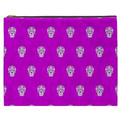 Skull Pattern Hot Pink Cosmetic Bag (xxxl)  by MoreColorsinLife