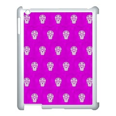 Skull Pattern Hot Pink Apple Ipad 3/4 Case (white) by MoreColorsinLife