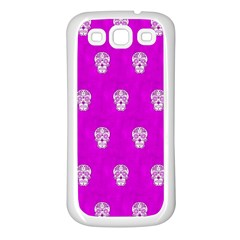 Skull Pattern Hot Pink Samsung Galaxy S3 Back Case (white) by MoreColorsinLife