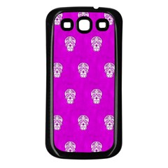 Skull Pattern Hot Pink Samsung Galaxy S3 Back Case (black) by MoreColorsinLife