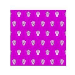 Skull Pattern Hot Pink Small Satin Scarf (square)  by MoreColorsinLife