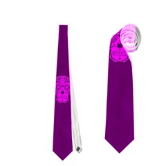 Skull Pattern Purple Neckties (one Side)