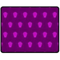 Skull Pattern Purple Double Sided Fleece Blanket (medium)  by MoreColorsinLife
