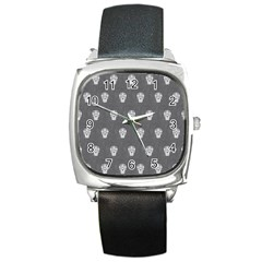 Skull Pattern Silver Square Metal Watches by MoreColorsinLife