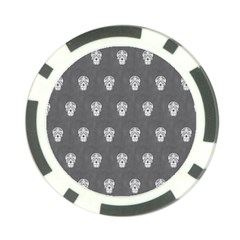 Skull Pattern Silver Poker Chip Card Guards (10 pack)  by MoreColorsinLife