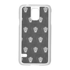 Skull Pattern Silver Samsung Galaxy S5 Case (white) by MoreColorsinLife