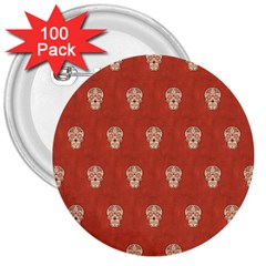 Skull Pattern Terra 3  Buttons (100 pack)  by MoreColorsinLife