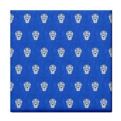 Skull Pattern Inky Blue Tile Coasters by MoreColorsinLife