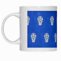 Skull Pattern Inky Blue White Mugs by MoreColorsinLife