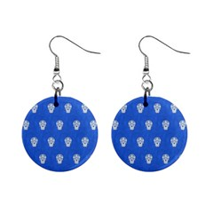 Skull Pattern Inky Blue Mini Button Earrings by MoreColorsinLife
