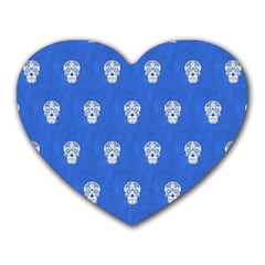 Skull Pattern Inky Blue Heart Mousepads by MoreColorsinLife