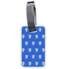 Skull Pattern Inky Blue Luggage Tags (one Side)  by MoreColorsinLife