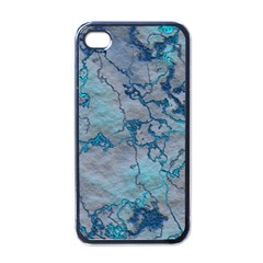 Marbled Lava Blue Apple Iphone 4 Case (black) by MoreColorsinLife