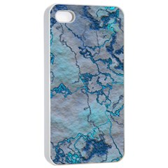 Marbled Lava Blue Apple Iphone 4/4s Seamless Case (white) by MoreColorsinLife