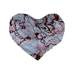 Marbled Lava Red Standard 16  Premium Flano Heart Shape Cushions by MoreColorsinLife