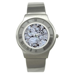 Marbled Lava White Black Stainless Steel Watches by MoreColorsinLife