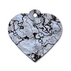 Marbled Lava White Black Dog Tag Heart (One Side) by MoreColorsinLife