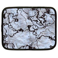 Marbled Lava White Black Netbook Case (large)	 by MoreColorsinLife