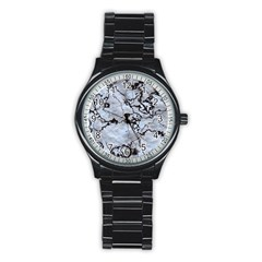 Marbled Lava White Black Stainless Steel Round Watches by MoreColorsinLife