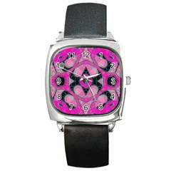 Pink Black Abstract  Square Metal Watches by OCDesignss
