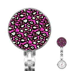 Pink Black Cheetah Abstract  Stainless Steel Nurses Watches by OCDesignss