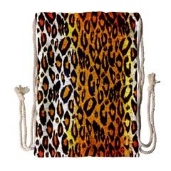 Cheetah Abstract Pattern  Drawstring Bag (large) by OCDesignss