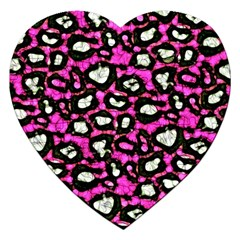 Pink Black Cheetah Abstract  Jigsaw Puzzle (heart) by OCDesignss