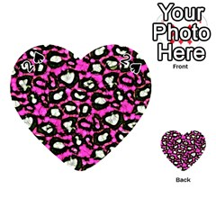 Pink Black Cheetah Abstract  Playing Cards 54 (heart)