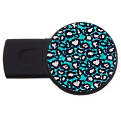 Turquoise Black Cheetah Abstract  Usb Flash Drive Round (4 Gb)  by OCDesignss