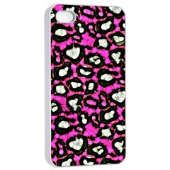 Pink Black Cheetah Abstract  Apple Iphone 4/4s Seamless Case (white) by OCDesignss