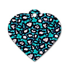 Turquoise Blue Cheetah Abstract  Dog Tag Heart (one Side) by OCDesignss