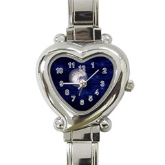 Moon And Stars Heart Italian Charm Watch by theunrulyartist