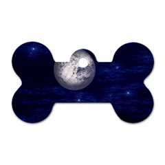 Moon And Stars Dog Tag Bone (one Side) by theunrulyartist
