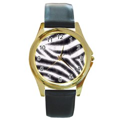 Black&white Zebra Abstract Pattern  Round Gold Metal Watches by OCDesignss
