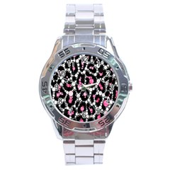 Pink Cheetah Bling  Stainless Steel Men s Watch by OCDesignss