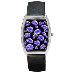Sassy Purple Puckered Lips  Barrel Metal Watches by OCDesignss