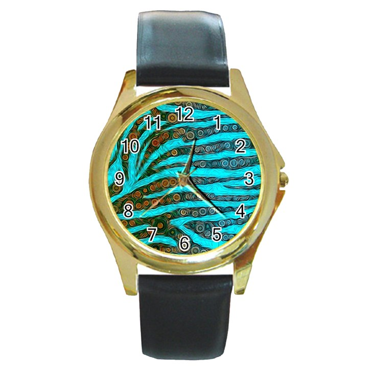 Turquoise Blue Zebra Abstract  Round Gold Metal Watches