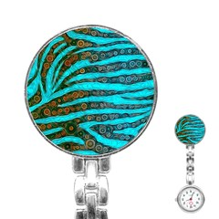Turquoise Blue Zebra Abstract  Stainless Steel Nurses Watches by OCDesignss