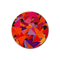 Geo Fun 8 Hot Colors Rubber Round Coaster (4 Pack)  by MoreColorsinLife