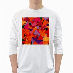 Geo Fun 8 Hot Colors White Long Sleeve T Shirts