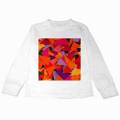 Geo Fun 8 Hot Colors Kids Long Sleeve T-Shirts by MoreColorsinLife