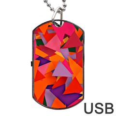 Geo Fun 8 Hot Colors Dog Tag Usb Flash (one Side) by MoreColorsinLife