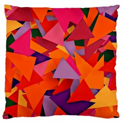 Geo Fun 8 Hot Colors Large Flano Cushion Cases (one Side)  by MoreColorsinLife