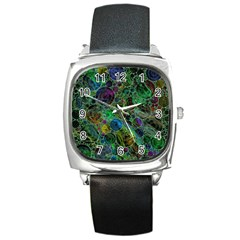 Lovely Allover Bubble Shapes Green Square Metal Watches by MoreColorsinLife