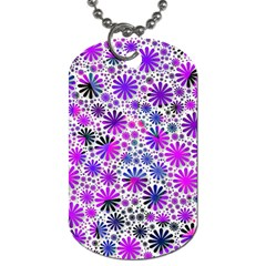 Lovely Allover Flower Shapes Pink Dog Tag (two Sides) by MoreColorsinLife