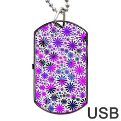 Lovely Allover Flower Shapes Pink Dog Tag Usb Flash (two Sides)  by MoreColorsinLife